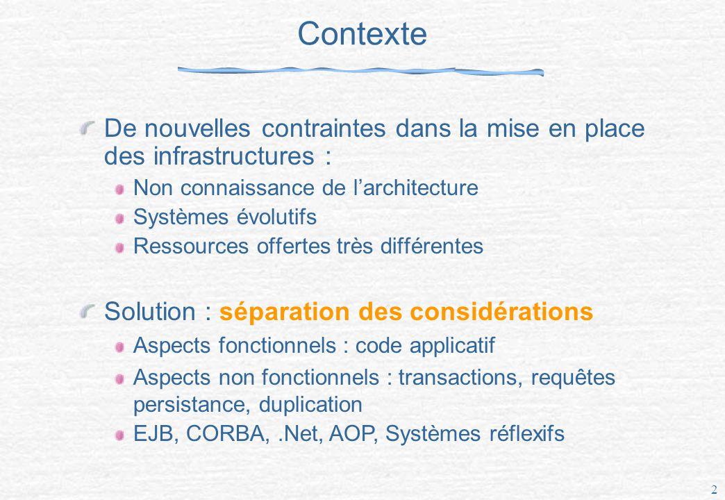 3 Le projet NODS Networked Open Database Services « Déconstruire » les SGBD sous forme de services afin d en répartir les fonctions Rendre adaptable les aspects non fonctionnels Duplication PersistanceTransactions Requêtes Médiateurs Communication, Env.