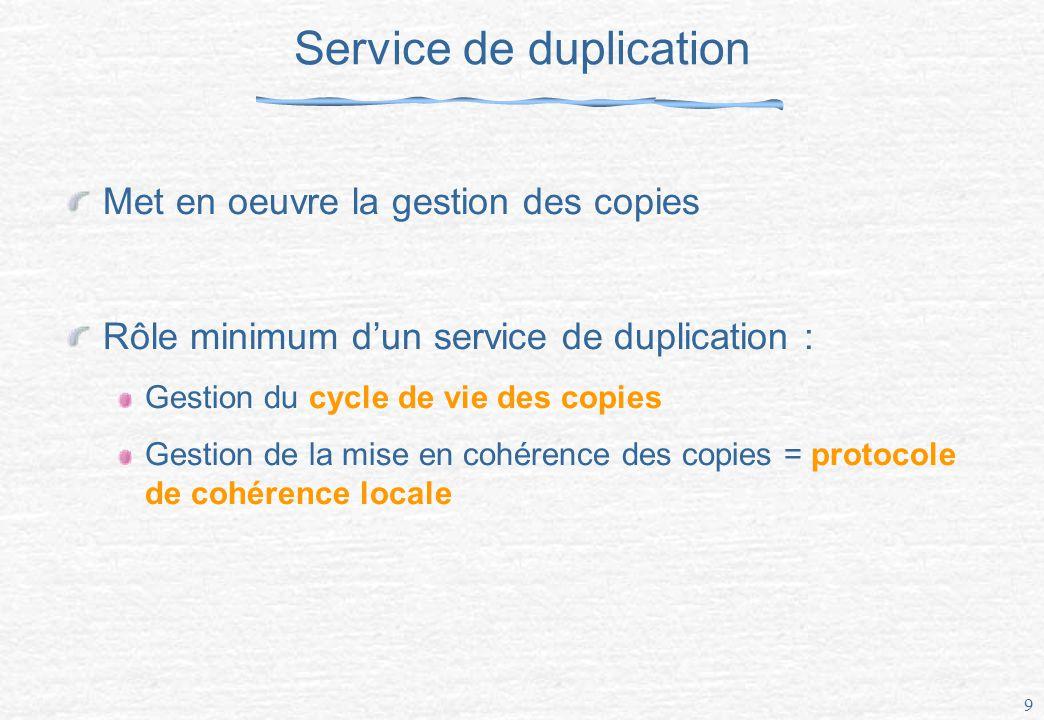 9 Service de duplication Met en oeuvre la gestion des copies Rôle minimum dun service de duplication : Gestion du cycle de vie des copies Gestion de la mise en cohérence des copies = protocole de cohérence locale