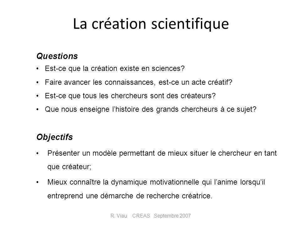 La création scientifique Objectifs Présenter un modèle permettant de mieux situer le chercheur en tant que créateur; Mieux connaître la dynamique moti