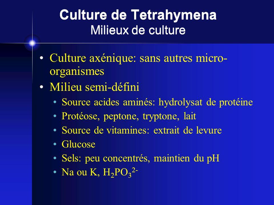 Culture de Tetrahymena Milieux de culture Culture axénique: sans autres micro- organismes Milieu semi-défini Source acides aminés: hydrolysat de protéine Protéose, peptone, tryptone, lait Source de vitamines: extrait de levure Glucose Sels: peu concentrés, maintien du pH Na ou K, H 2 PO 3 2-
