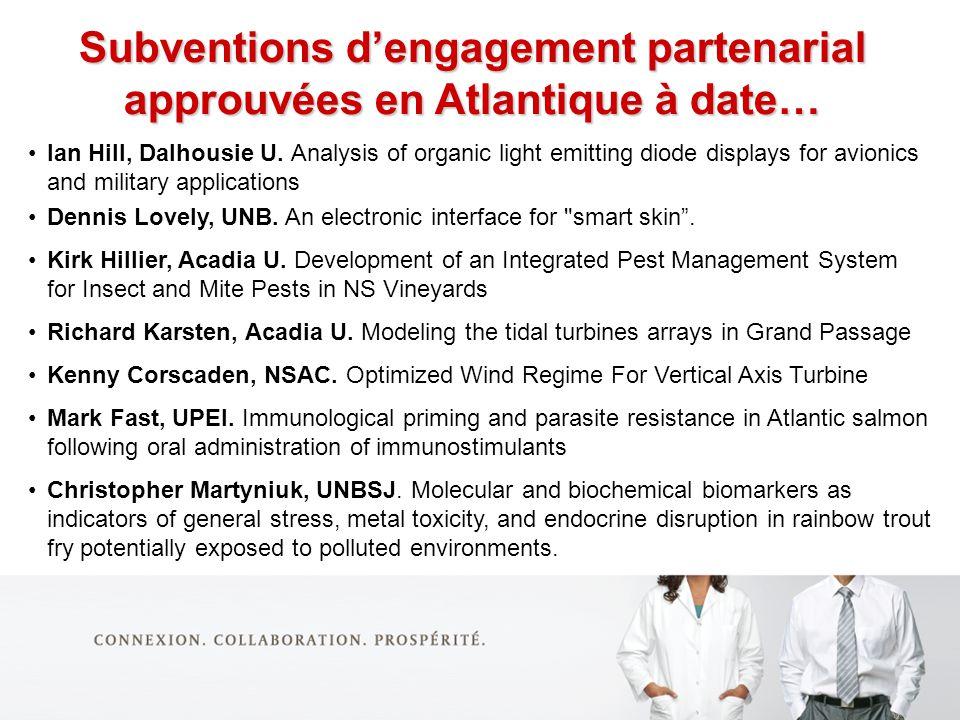 Subventions dengagement partenarial approuvées en Atlantique à date… Ian Hill, Dalhousie U.