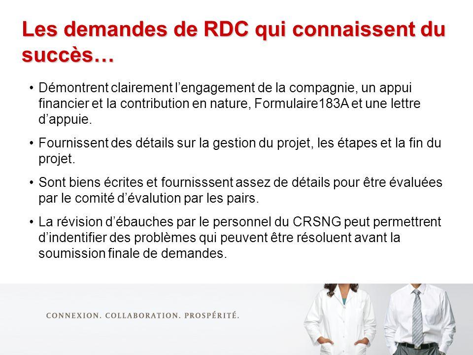 Les demandes de RDC qui connaissent du succès… Démontrent clairement lengagement de la compagnie, un appui financier et la contribution en nature, Formulaire183A et une lettre dappuie.