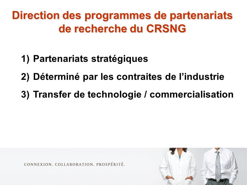 1)Partenariats stratégiques 2)Déterminé par les contraites de lindustrie 3)Transfer de technologie / commercialisation Direction des programmes de partenariats de recherche du CRSNG