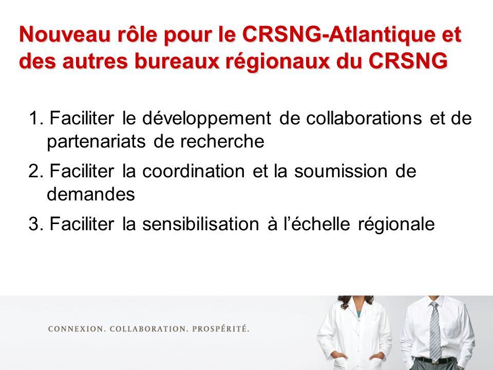 Nouveau rôle pour le CRSNG-Atlantique et des autres bureaux régionaux du CRSNG 1.