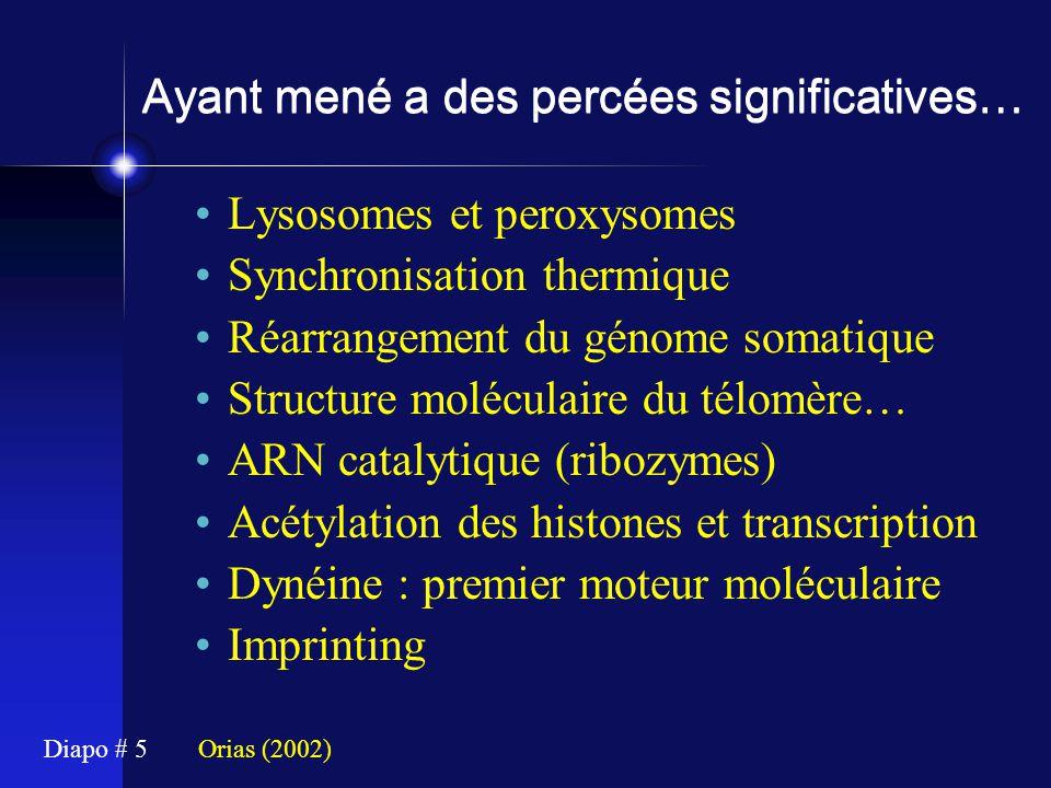 Diapo # 5 Ayant mené a des percées significatives… Lysosomes et peroxysomes Synchronisation thermique Réarrangement du génome somatique Structure molé