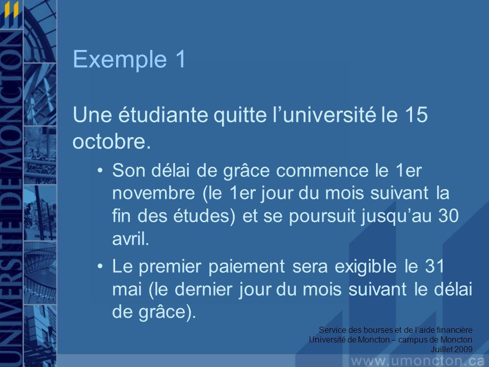 Exemple 1 Une étudiante quitte luniversité le 15 octobre. Son délai de grâce commence le 1er novembre (le 1er jour du mois suivant la fin des études)