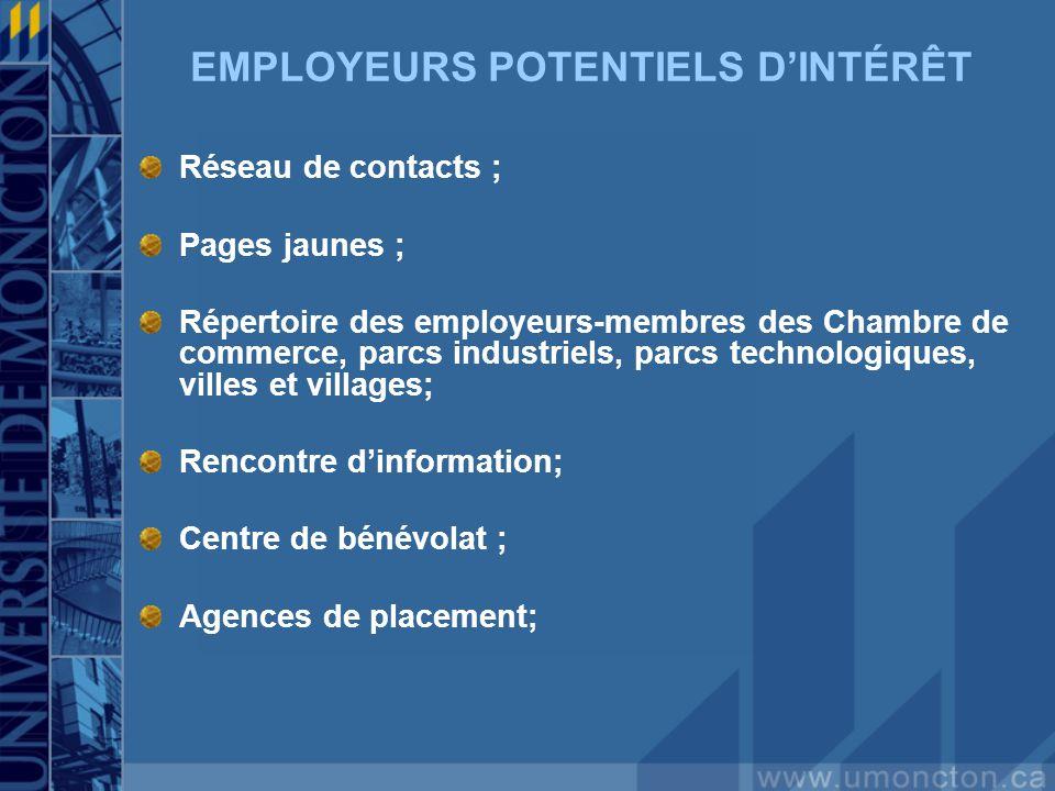 EMPLOYEURS POTENTIELS DINTÉRÊT Réseau de contacts ; Pages jaunes ; Répertoire des employeurs-membres des Chambre de commerce, parcs industriels, parcs