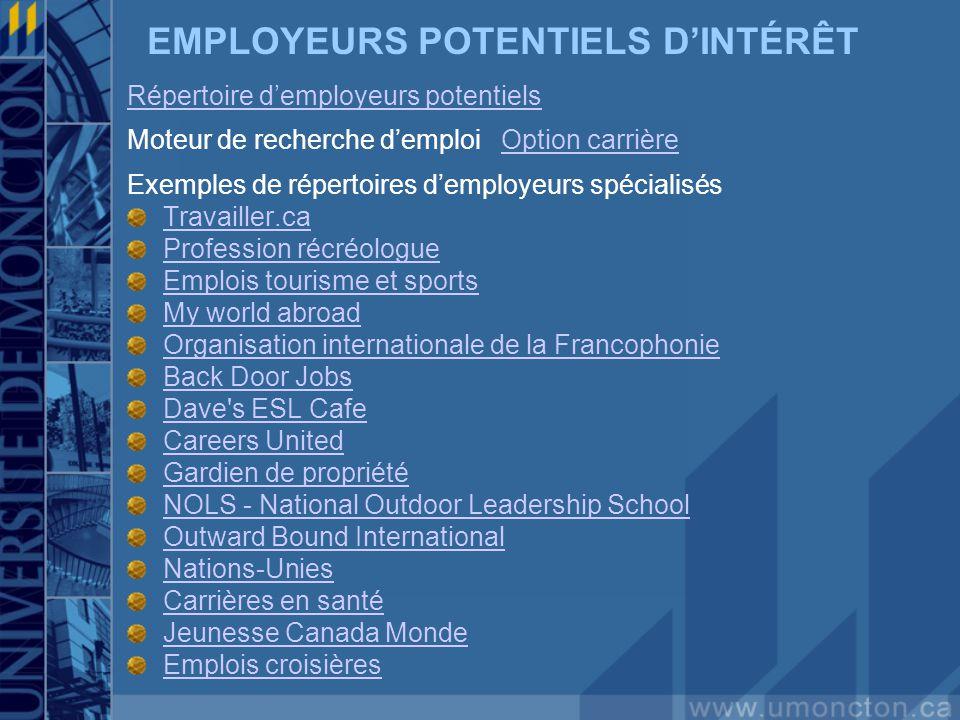 EMPLOYEURS POTENTIELS DINTÉRÊT Répertoire demployeurs potentiels Moteur de recherche demploi Option carrièreOption carrière Exemples de répertoires de