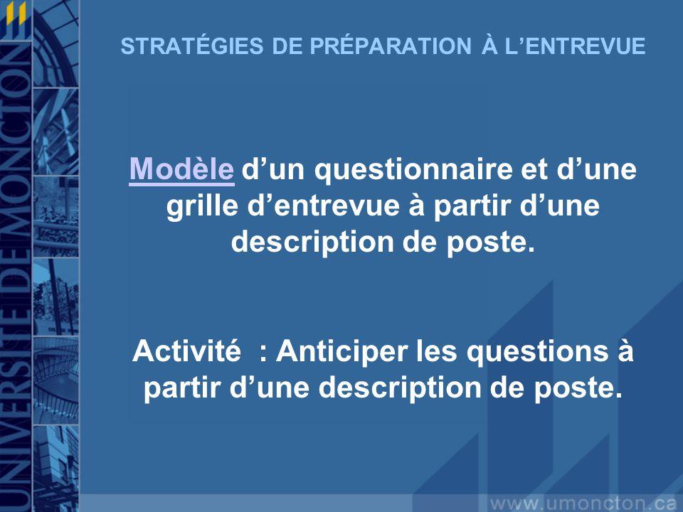 STRATÉGIES DE PRÉPARATION À LENTREVUE ModèleModèle dun questionnaire et dune grille dentrevue à partir dune description de poste.