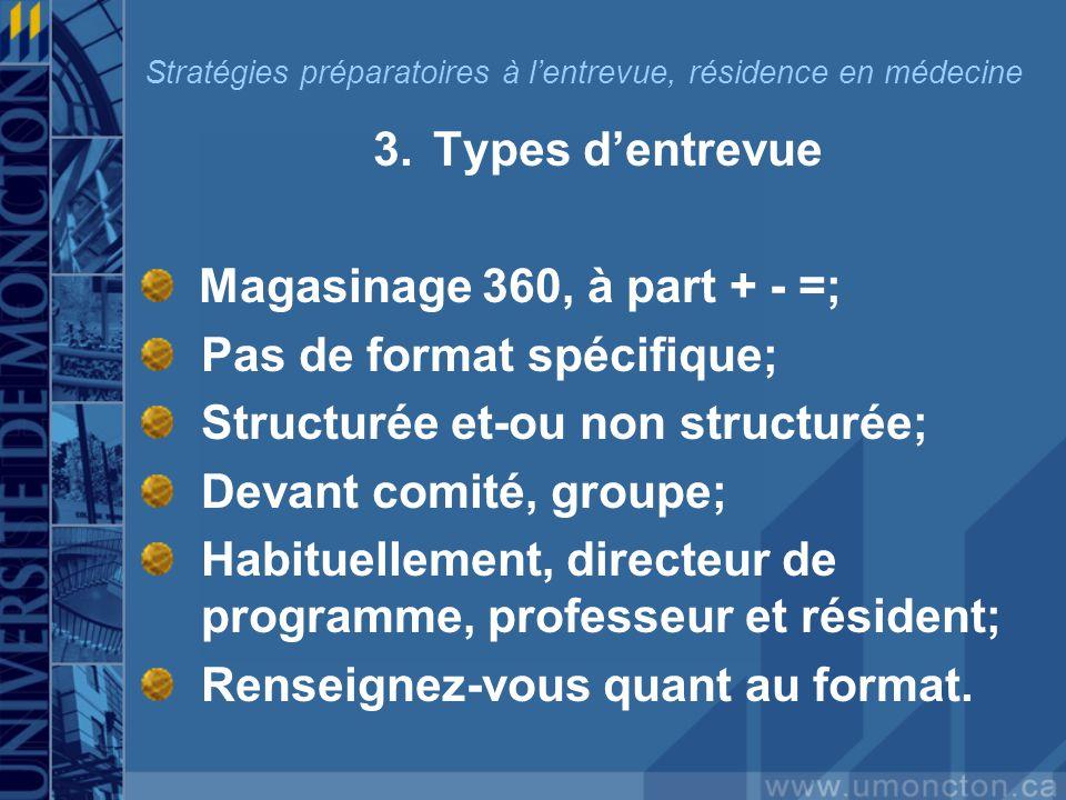 3.Types dentrevue Magasinage 360, à part + - =; Pas de format spécifique; Structurée et-ou non structurée; Devant comité, groupe; Habituellement, directeur de programme, professeur et résident; Renseignez-vous quant au format.