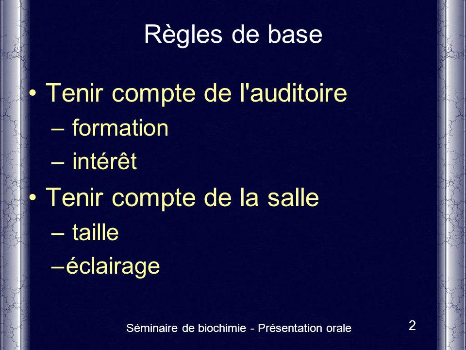 Séminaire de biochimie - Présentation orale 2 Règles de base Tenir compte de l'auditoire – formation – intérêt Tenir compte de la salle – taille –écla