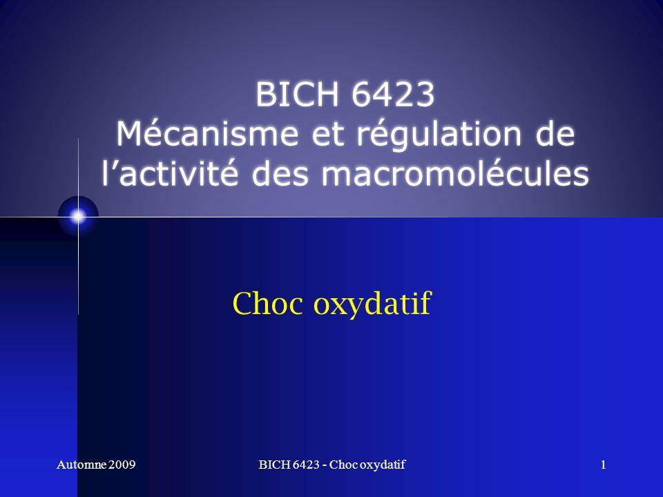 Choc oxydatif BICH 6423 Mécanisme et régulation de lactivité des macromolécules Automne 2009BICH 6423 - Choc oxydatif1