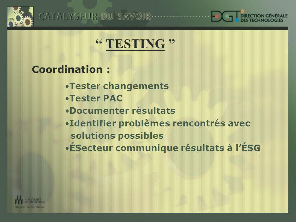 Coordination : Tester changements Tester PAC Documenter résultats Identifier problèmes rencontrés avec solutions possibles ÉSecteur communique résultats à lÉSG TESTING