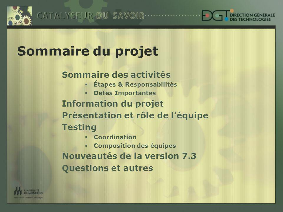 Étapes principales & Responsabilité (F = fonctionnel) (T = technique) Version Intl : jan – mars (T) Ajouts & Test DGT : mars-mai (T) Testing secteurs : juin - oct.
