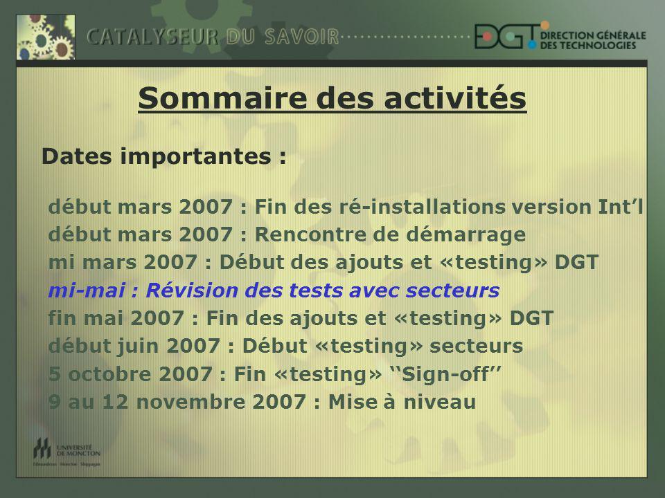 Dates importantes : début mars 2007 : Fin des ré-installations version Intl début mars 2007 : Rencontre de démarrage mi mars 2007 : Début des ajouts et «testing» DGT mi-mai : Révision des tests avec secteurs fin mai 2007 : Fin des ajouts et «testing» DGT début juin 2007 : Début «testing» secteurs 5 octobre 2007 : Fin «testing» Sign-off 9 au 12 novembre 2007 : Mise à niveau Sommaire des activités