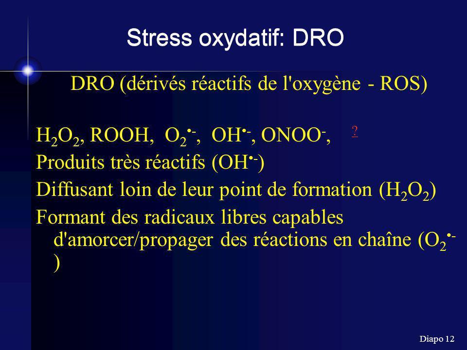 Diapo 12 Stress oxydatif: DRO DRO (dérivés réactifs de l'oxygène - ROS) H 2 O 2, ROOH, O 2 -, OH -, ONOO -, ? ? Produits très réactifs (OH - ) Diffusa