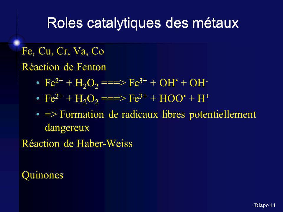 Diapo 14 Roles catalytiques des métaux Fe, Cu, Cr, Va, Co Réaction de Fenton Fe 2+ + H 2 O 2 ===> Fe 3+ + OH + OH - Fe 2+ + H 2 O 2 ===> Fe 3+ + HOO + H + => Formation de radicaux libres potentiellement dangereux Réaction de Haber-Weiss Quinones