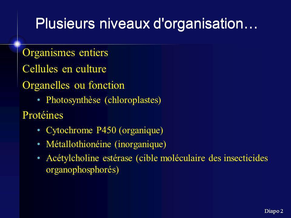 Diapo 2 Plusieurs niveaux d'organisation… Organismes entiers Cellules en culture Organelles ou fonction Photosynthèse (chloroplastes) Protéines Cytoch
