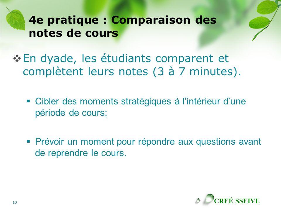 CREÉ SSEIVE 10 4e pratique : Comparaison des notes de cours En dyade, les étudiants comparent et complètent leurs notes (3 à 7 minutes). Cibler des mo