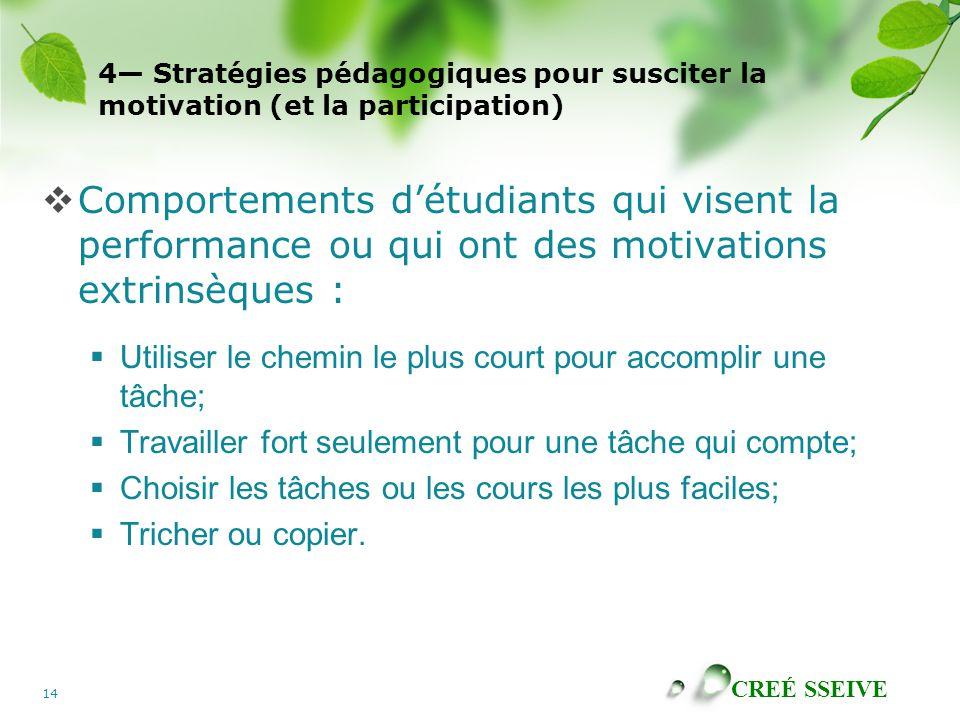 CREÉ SSEIVE 14 4 Stratégies pédagogiques pour susciter la motivation (et la participation) Comportements détudiants qui visent la performance ou qui o