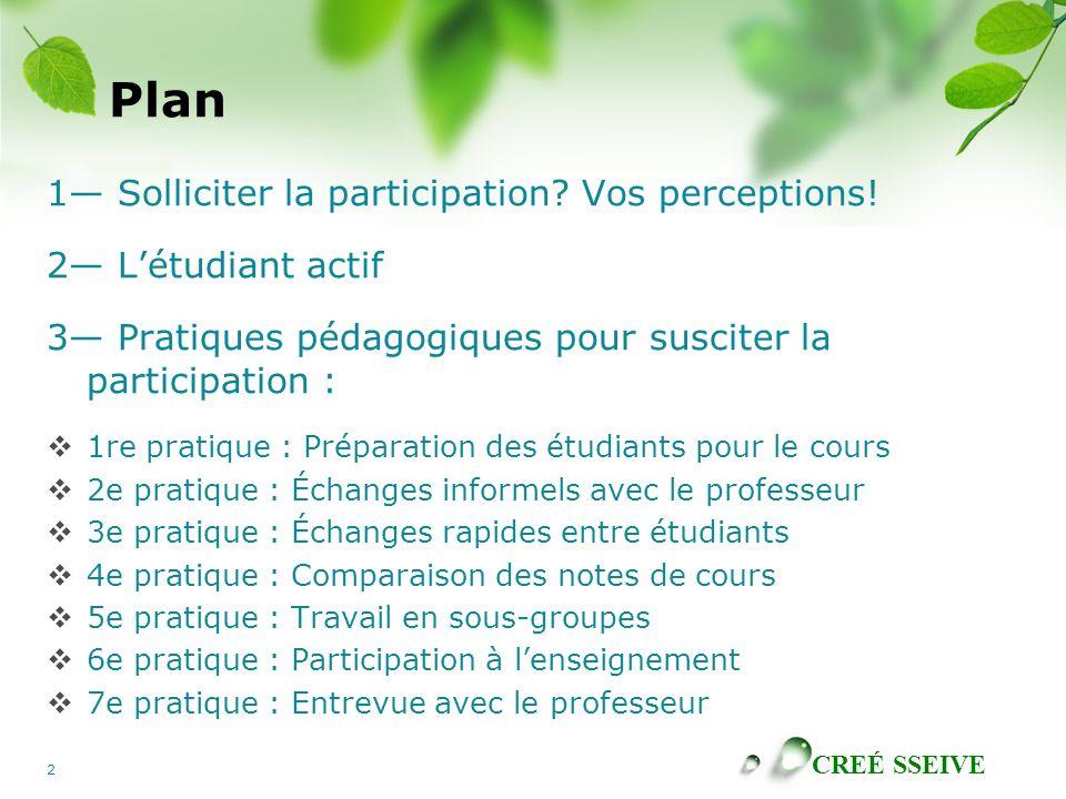 CREÉ SSEIVE 2 Plan 1 Solliciter la participation? Vos perceptions! 2 Létudiant actif 3 Pratiques pédagogiques pour susciter la participation : 1re pra