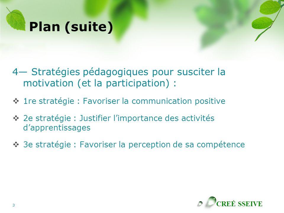 CREÉ SSEIVE 3 Plan (suite) 4 Stratégies pédagogiques pour susciter la motivation (et la participation) : 1re stratégie : Favoriser la communication po