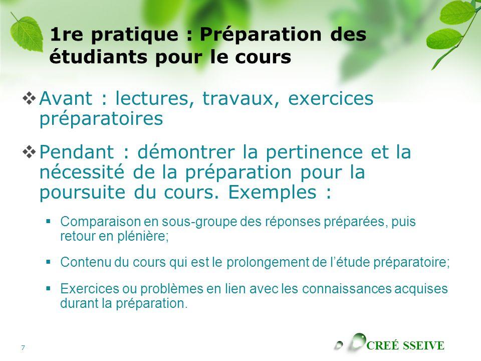 CREÉ SSEIVE 7 1re pratique : Préparation des étudiants pour le cours Avant : lectures, travaux, exercices préparatoires Pendant : démontrer la pertine