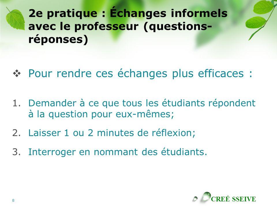 CREÉ SSEIVE 8 2e pratique : Échanges informels avec le professeur (questions- réponses) Pour rendre ces échanges plus efficaces : 1.Demander à ce que