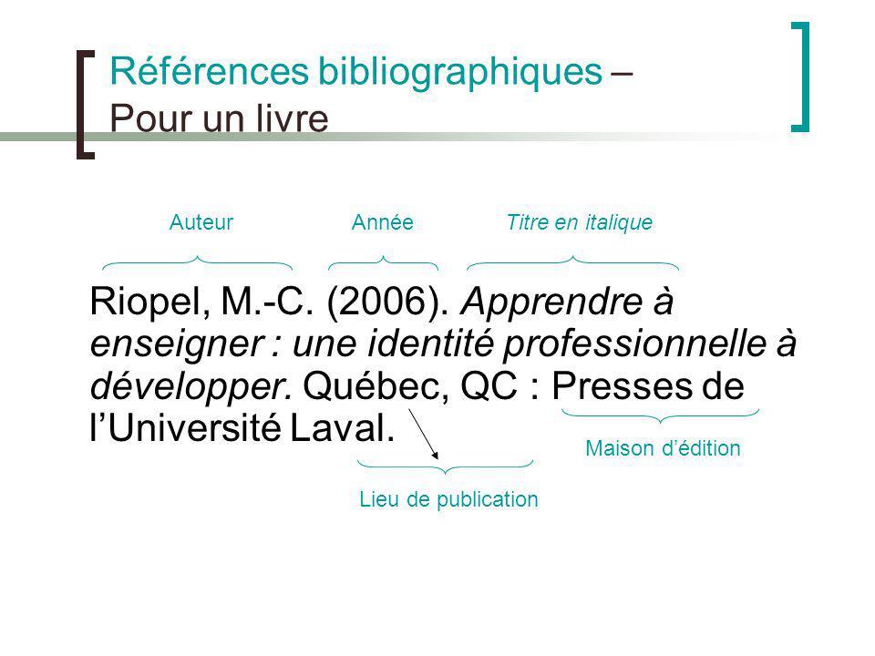 Références bibliographiques – Pour un livre Riopel, M.-C. (2006). Apprendre à enseigner : une identité professionnelle à développer. Québec, QC : Pres