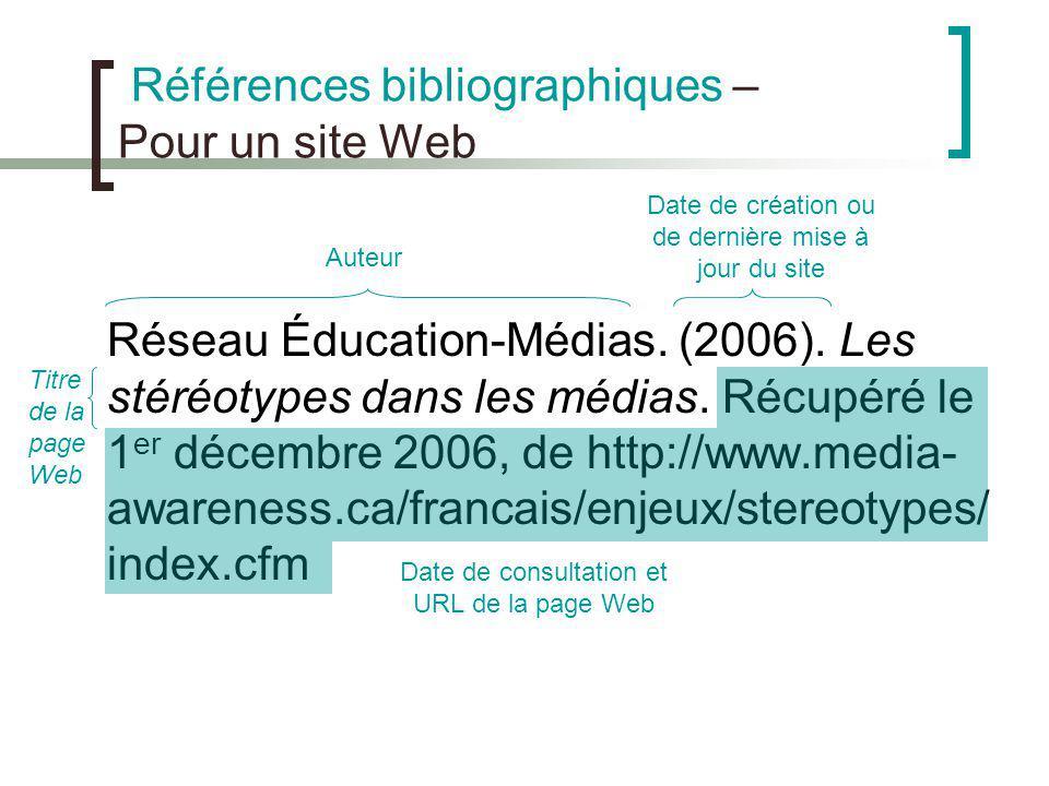 Références bibliographiques – Pour un site Web Réseau Éducation-Médias. (2006). Les stéréotypes dans les médias. Récupéré le 1 er décembre 2006, de ht