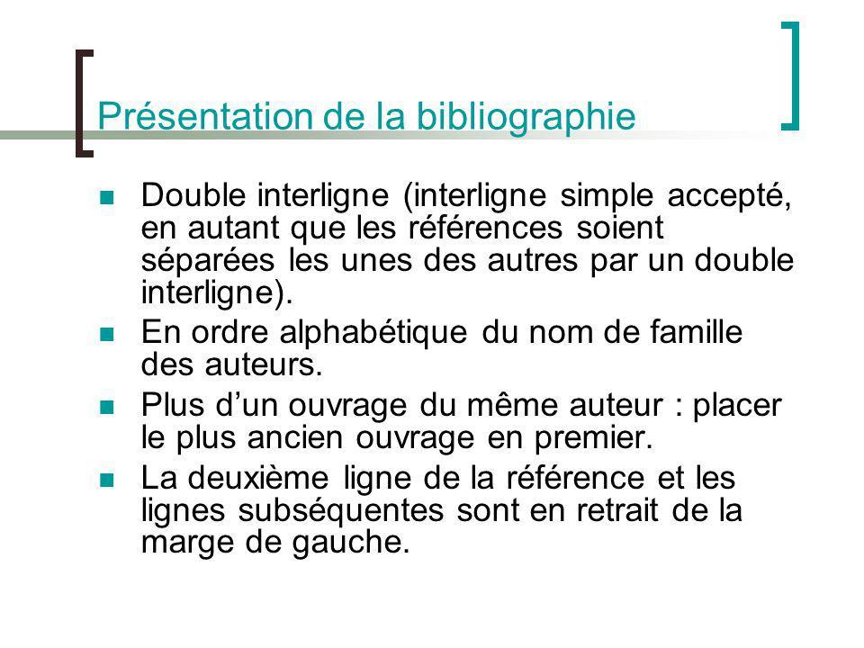 Présentation de la bibliographie Double interligne (interligne simple accepté, en autant que les références soient séparées les unes des autres par un