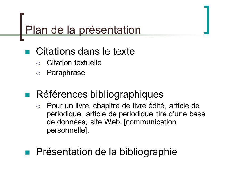 Plan de la présentation Citations dans le texte Citation textuelle Paraphrase Références bibliographiques Pour un livre, chapitre de livre édité, arti