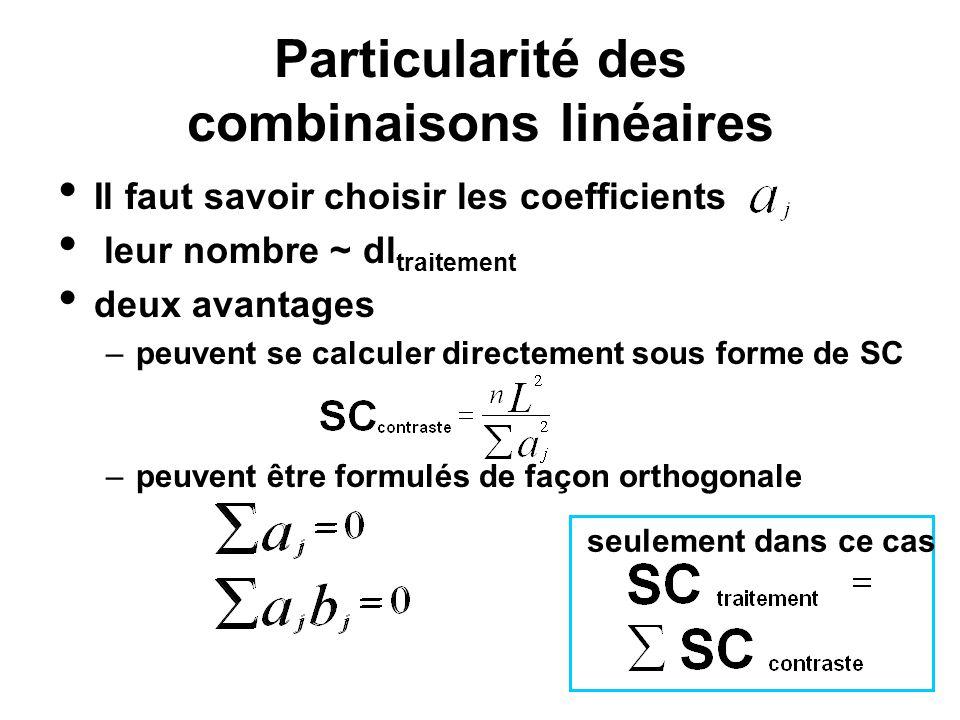 Particularité des combinaisons linéaires Il faut savoir choisir les coefficients leur nombre ~ dl traitement deux avantages –peuvent se calculer direc