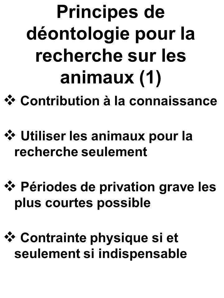 Principes de déontologie pour la recherche sur les animaux (1) Contribution à la connaissance Utiliser les animaux pour la recherche seulement Périodes de privation grave les plus courtes possible Contrainte physique si et seulement si indispensable