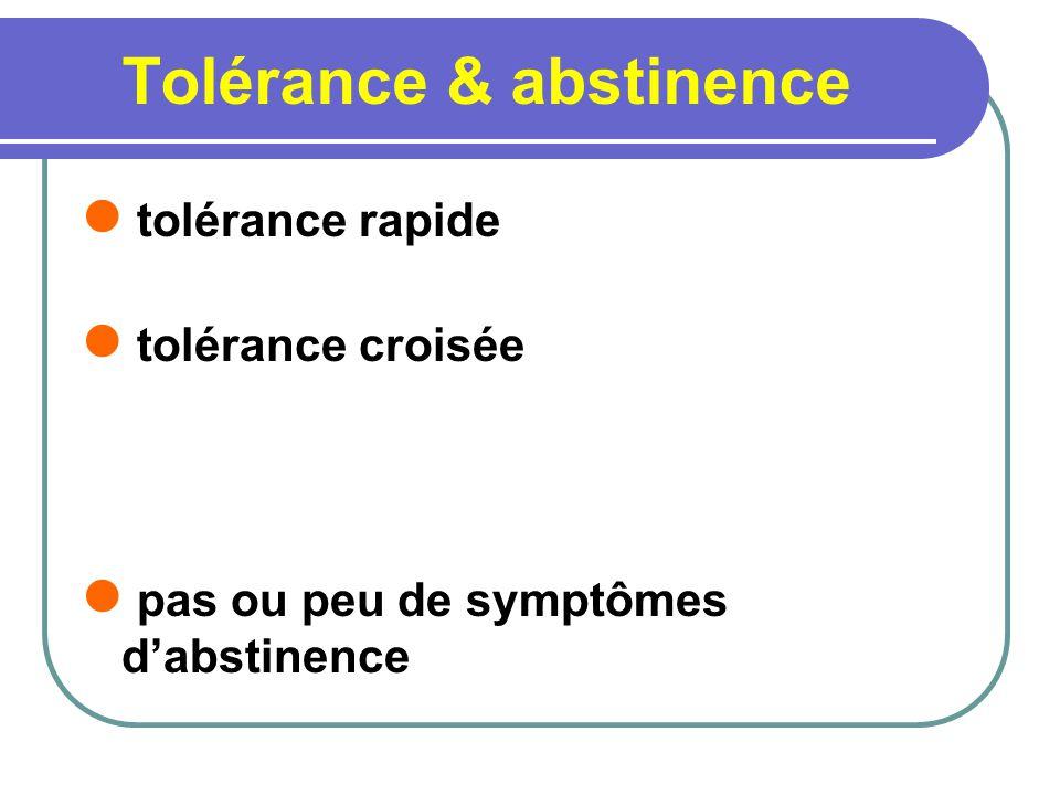Tolérance & abstinence tolérance rapide tolérance croisée pas ou peu de symptômes dabstinence