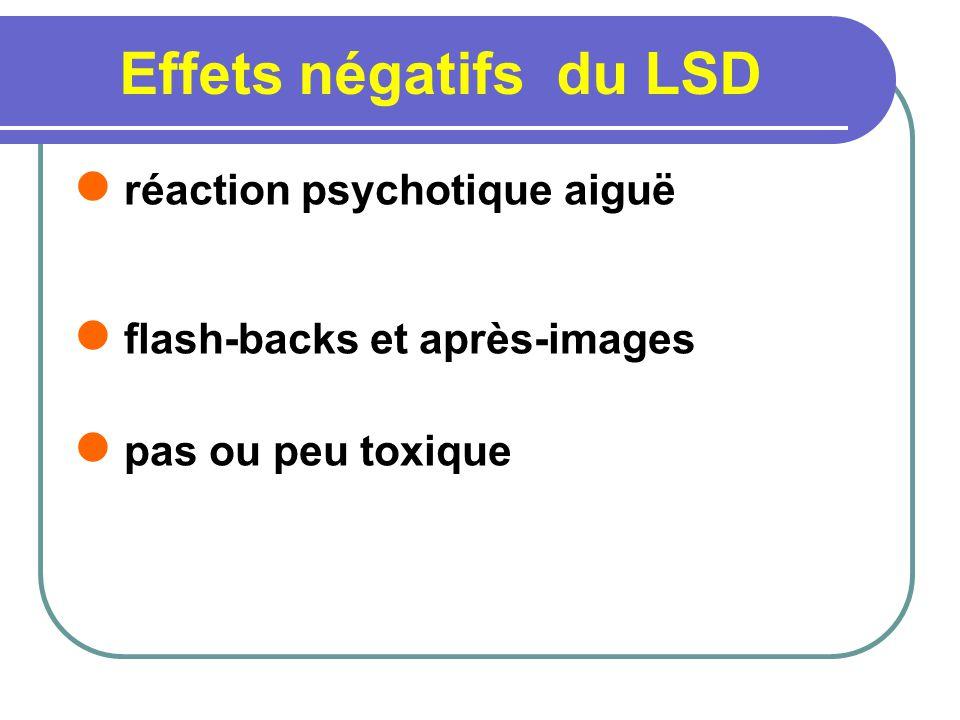 Effets négatifs du LSD réaction psychotique aiguë flash-backs et après-images pas ou peu toxique