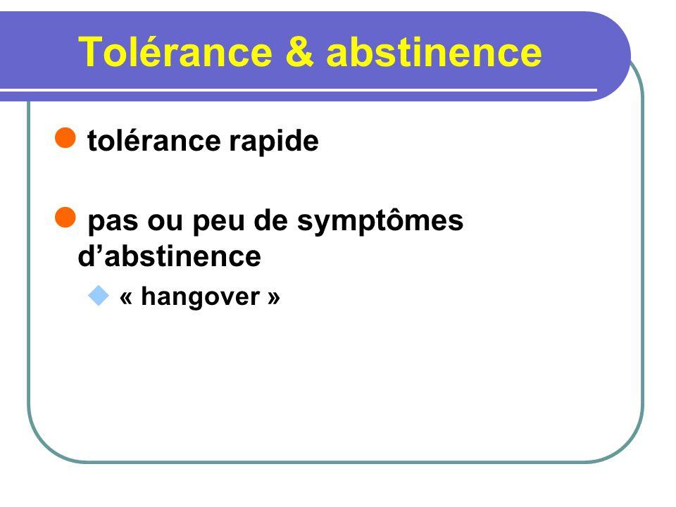 Tolérance & abstinence tolérance rapide pas ou peu de symptômes dabstinence « hangover »