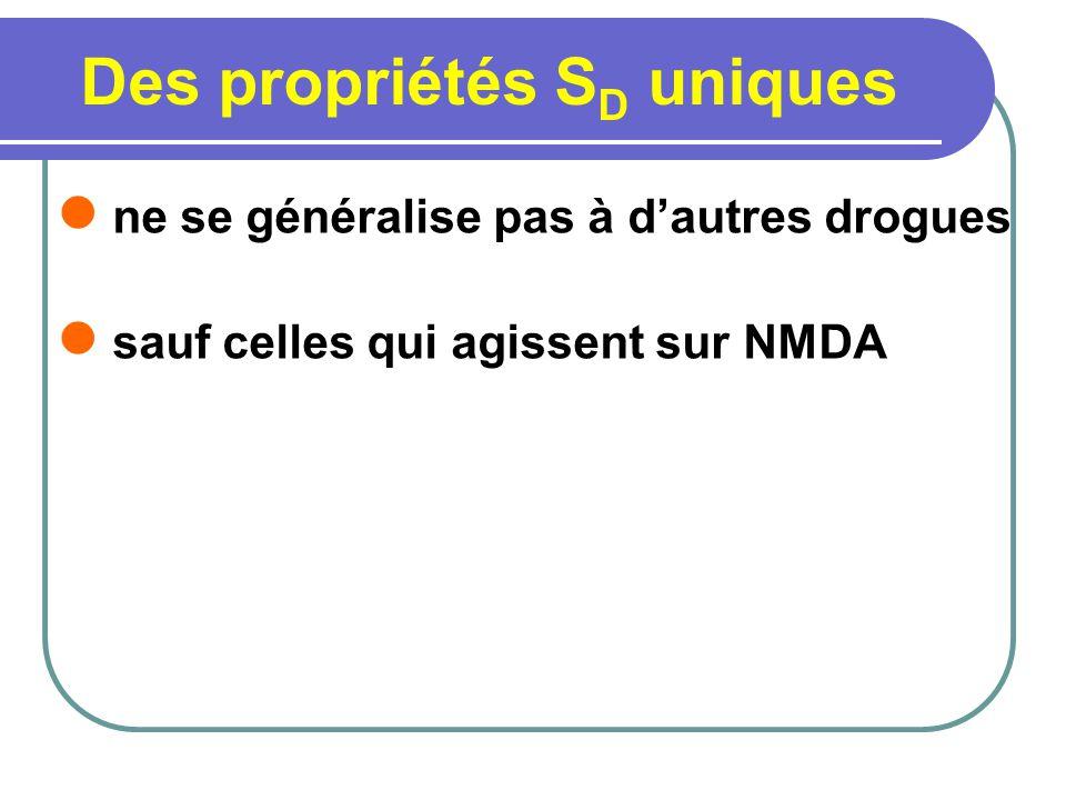 Des propriétés S D uniques ne se généralise pas à dautres drogues sauf celles qui agissent sur NMDA