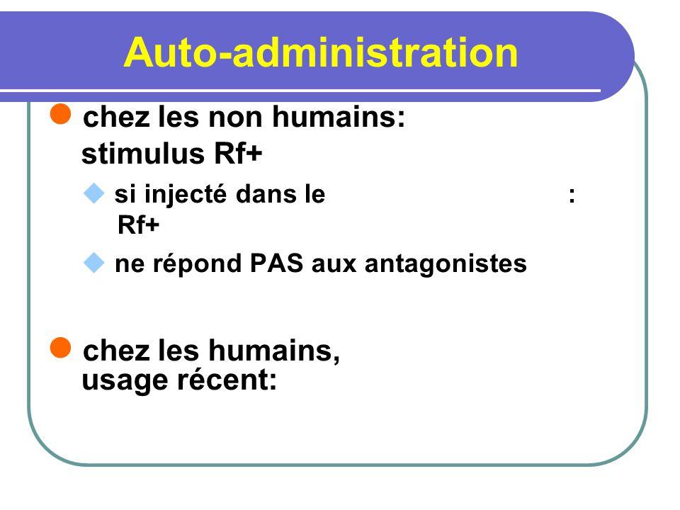 Auto-administration chez les non humains: stimulus Rf+ si injecté dans le : Rf+ ne répond PAS aux antagonistes chez les humains, usage récent: