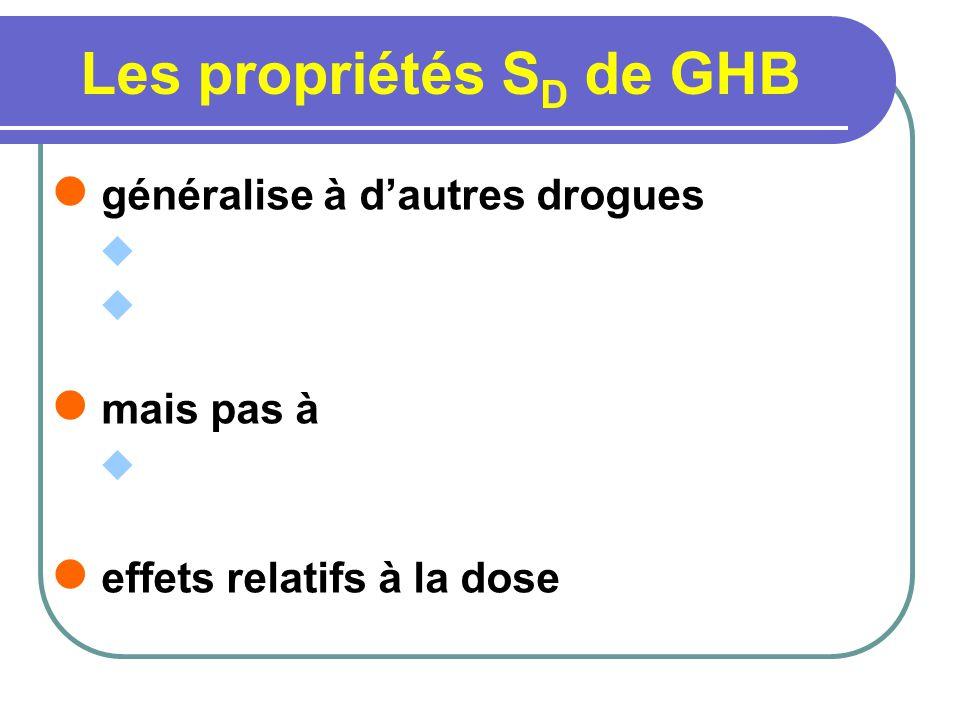 Les propriétés S D de GHB généralise à dautres drogues mais pas à effets relatifs à la dose