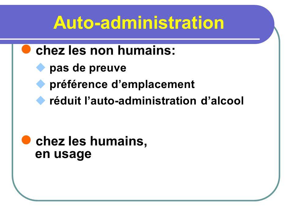 Auto-administration chez les non humains: pas de preuve préférence demplacement réduit lauto-administration dalcool chez les humains, en usage