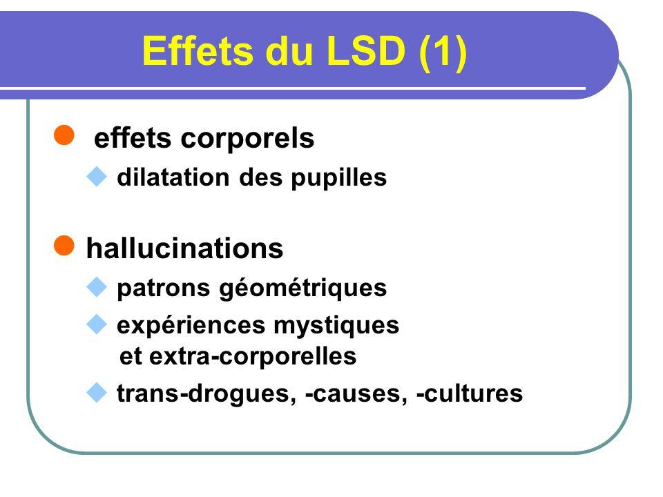 Effets du LSD (1) effets corporels dilatation des pupilles hallucinations patrons géométriques expériences mystiques et extra-corporelles trans-drogue