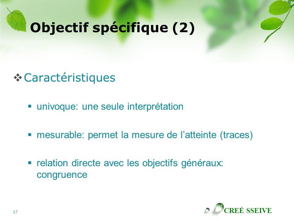 CREÉ SSEIVE 17 Objectif spécifique (2) Caractéristiques univoque: une seule interprétation mesurable: permet la mesure de latteinte (traces) relation directe avec les objectifs généraux: congruence