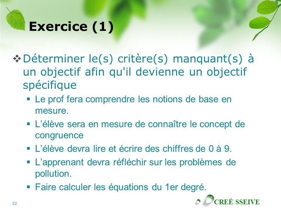 CREÉ SSEIVE 22 Exercice (1) Déterminer le(s) critère(s) manquant(s) à un objectif afin qu il devienne un objectif spécifique Le prof fera comprendre les notions de base en mesure.