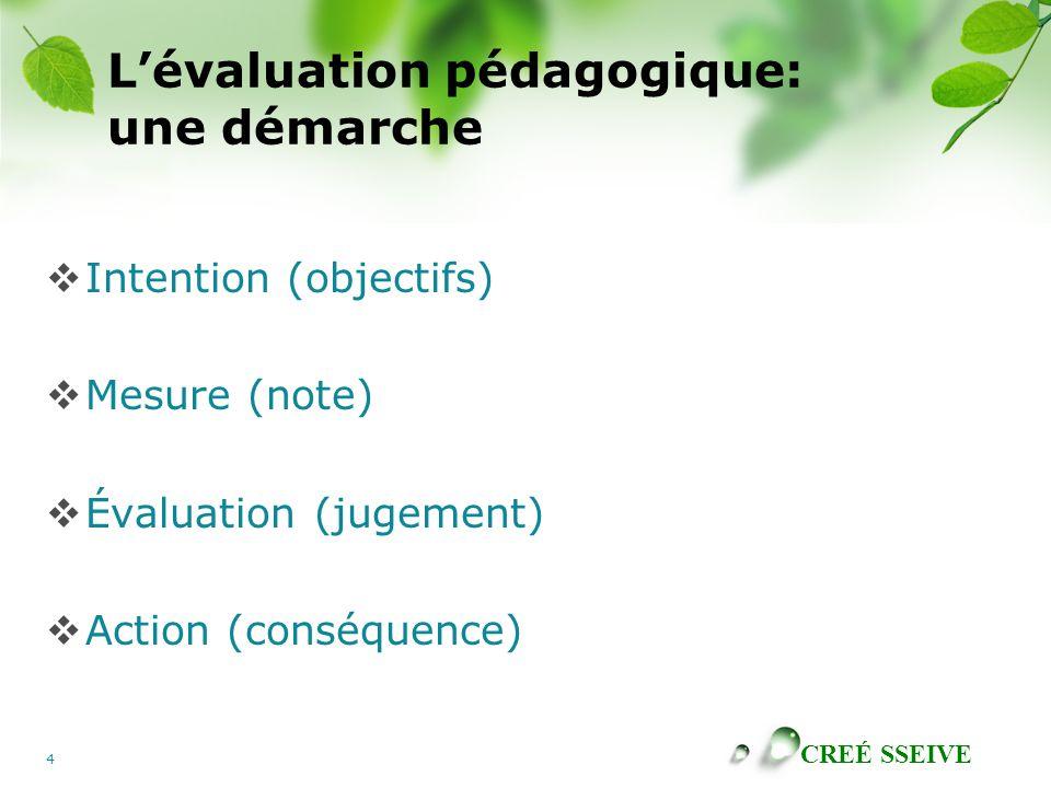 CREÉ SSEIVE 4 Lévaluation pédagogique: une démarche Intention (objectifs) Mesure (note) Évaluation (jugement) Action (conséquence)