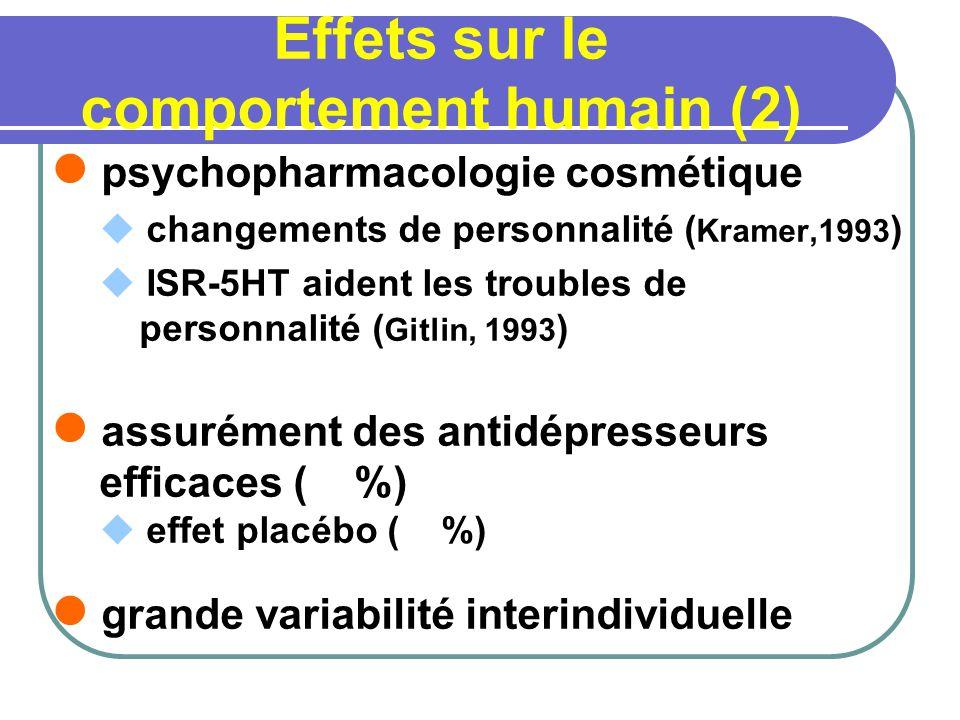 Effets sur le comportement humain (2) psychopharmacologie cosmétique changements de personnalité ( Kramer,1993 ) ISR-5HT aident les troubles de personnalité ( Gitlin, 1993 ) assurément des antidépresseurs efficaces ( %) effet placébo ( %) grande variabilité interindividuelle
