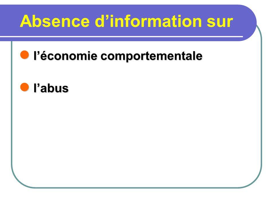 Absence dinformation sur léconomie comportementale léconomie comportementale labus labus