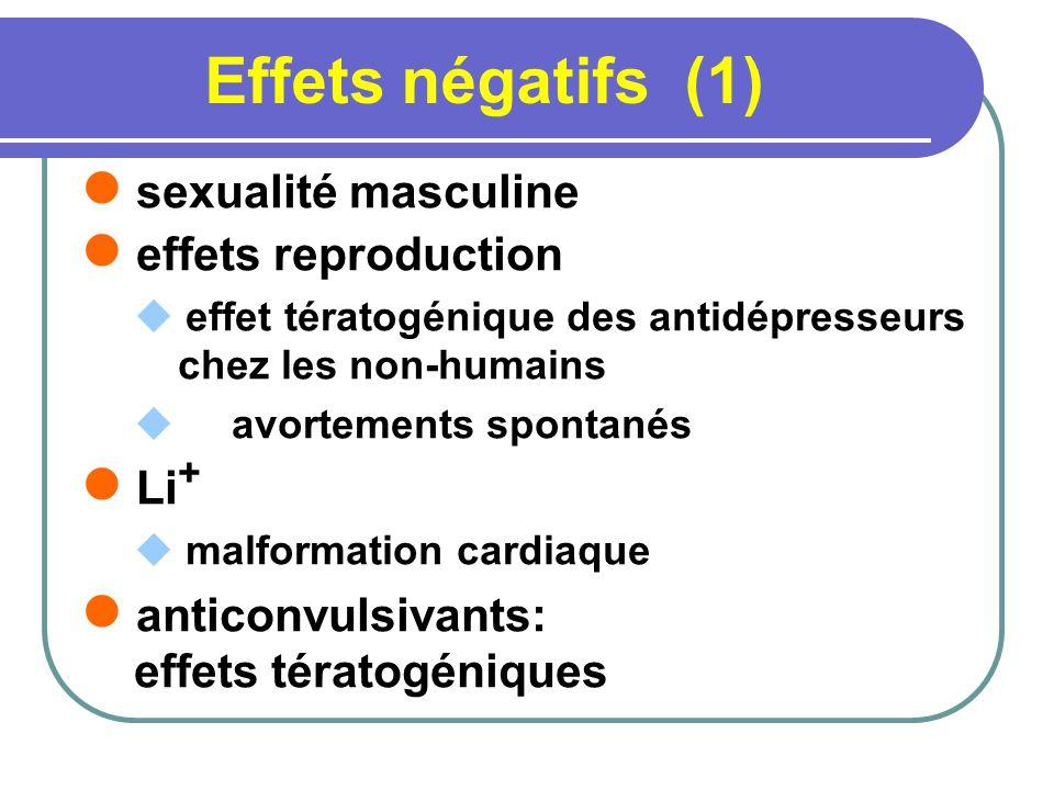 Effets négatifs (1) sexualité masculine effets reproduction effet tératogénique des antidépresseurs chez les non-humains avortements spontanés Li + malformation cardiaque anticonvulsivants: effets tératogéniques