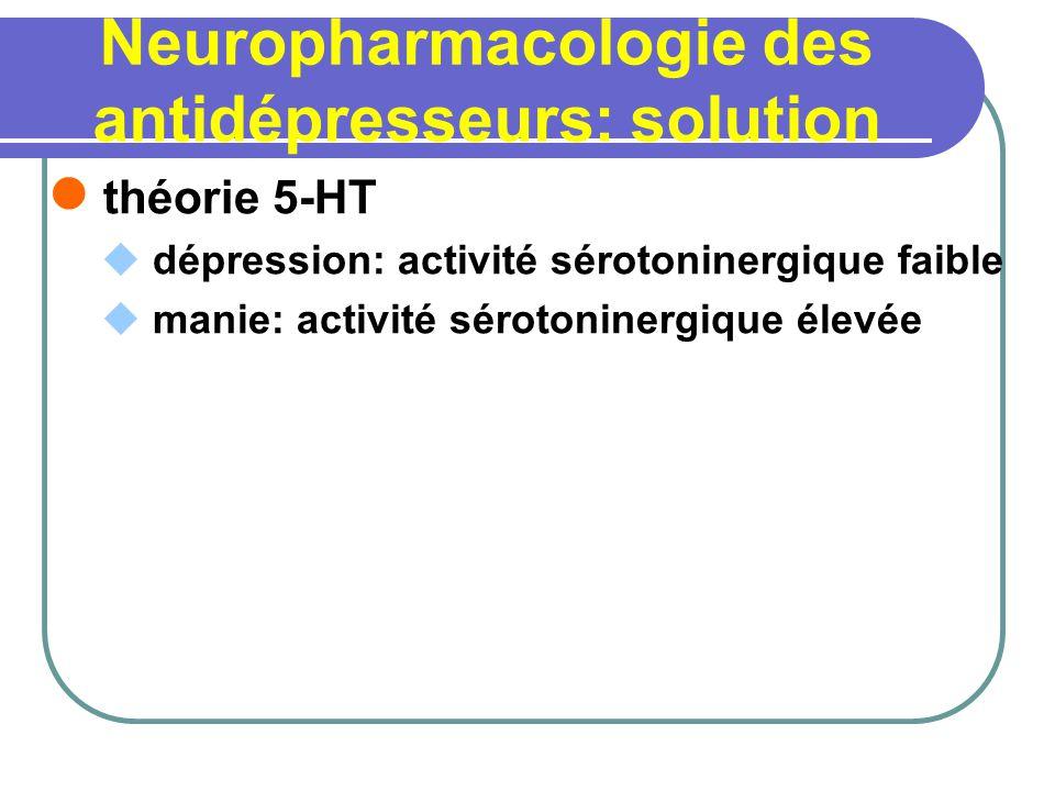 Neuropharmacologie des antidépresseurs: solution théorie 5-HT dépression: activité sérotoninergique faible manie: activité sérotoninergique élevée