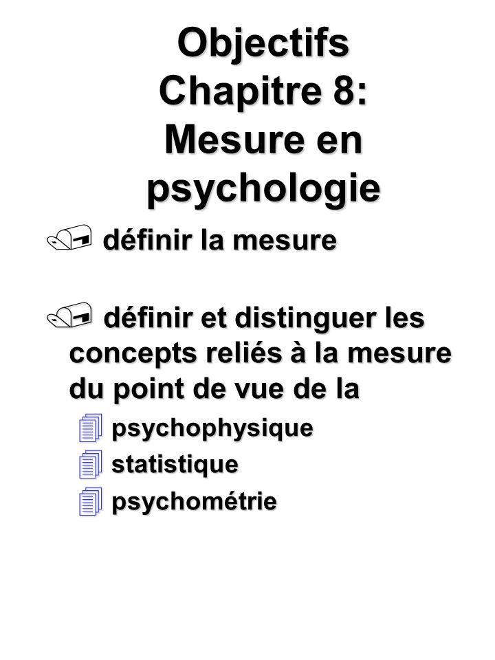 Objectifs Chapitre 8: Mesure en psychologie définir la mesure / définir et distinguer les concepts reliés à la mesure du point de vue de la 4 psychoph